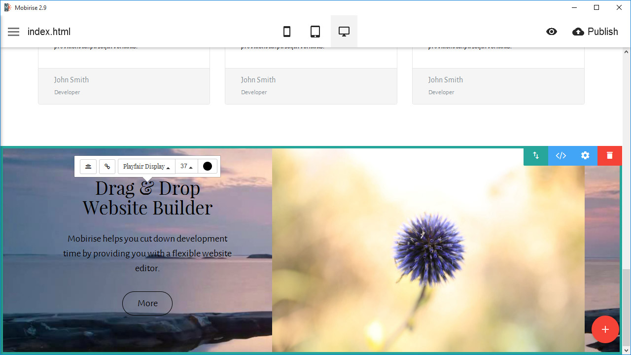 Best free website creator: All of these features, as well as their customizable variations, can easily be clicked and dragged. Everything is simple, effective, and to-the-point with Mobirise.