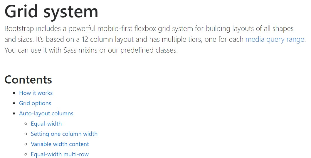 Bootstrap grid  formal documentation