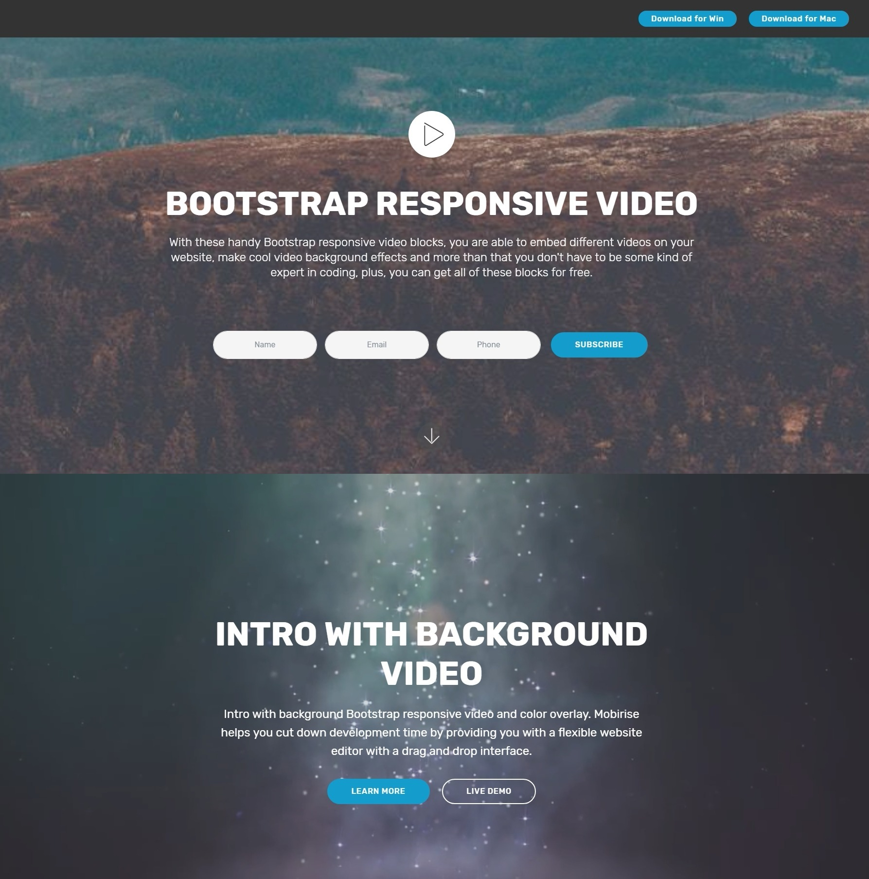 Nice Free Bootstrap Responsive Video Players and Navigation Menu Demos