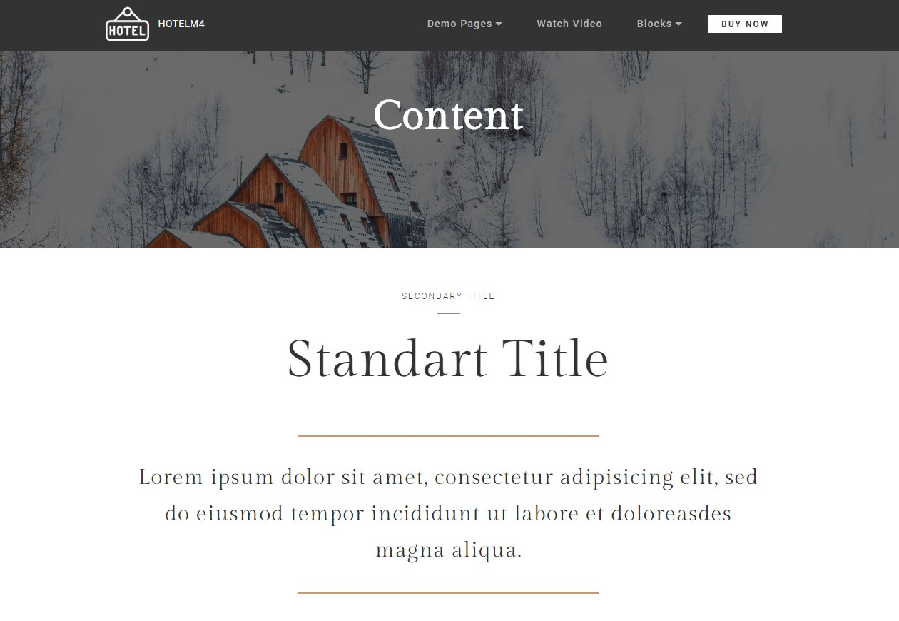 Content Theme for Hotel Website