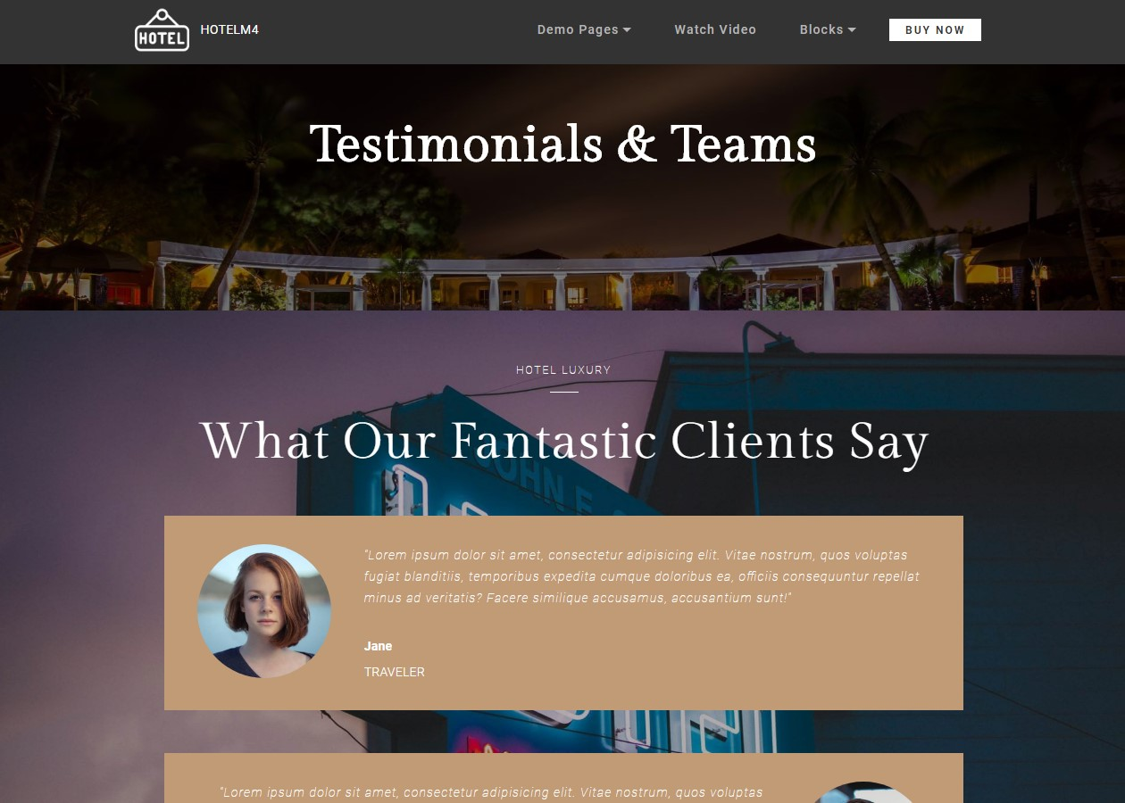 Testimonials and Teams Theme for Hotel Website