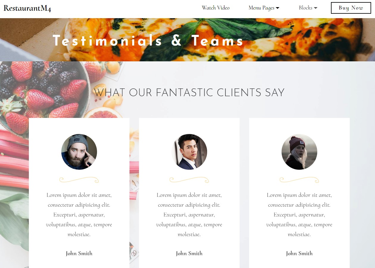 Restaurant Testimonials & Teams Template
