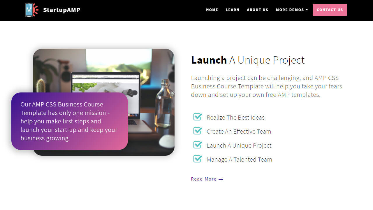 AMP CSS Business Course Template