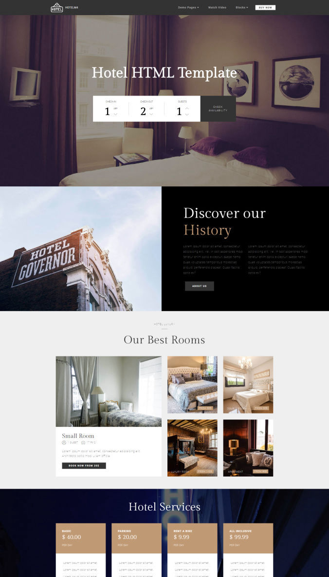 One-Page HTML Template